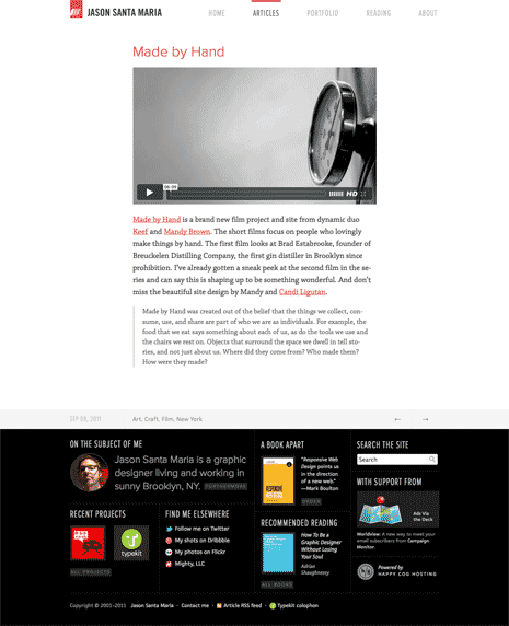 Screen shot of a page on Jason Santa Maria's site