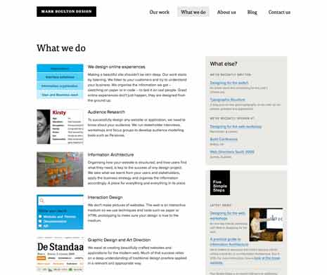 Screen shot of a page on  Mark Boulton Design