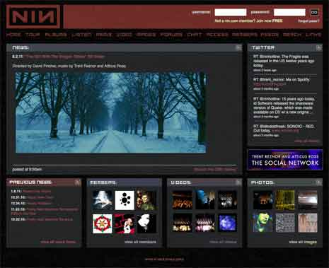 Screenshot of the home page of Nine Inch Nails' website