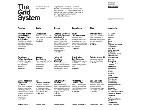 Screen shot of home page from The Grid System website