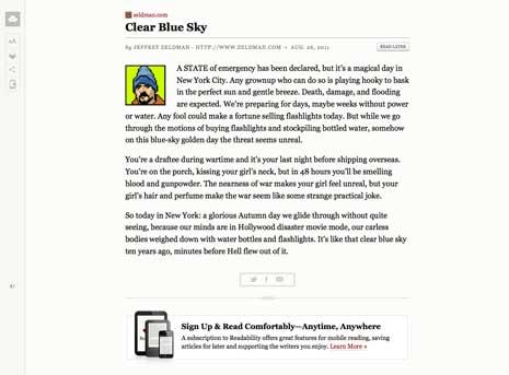 Screen shot of an artcile on Jeffrey Zeldman's blog as seen through Readability