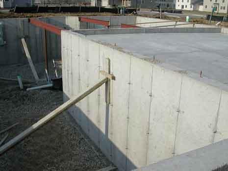 Concrete foundation of a building under construction