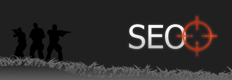 Crosshairs zeroing in on the word SEO