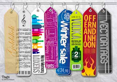 Colorful tags hanging from a rod