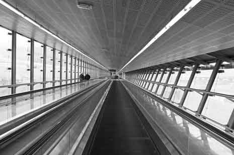Walkway at Málaga Airport showing linear perspective