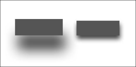 Two rectangles with shadows of different size