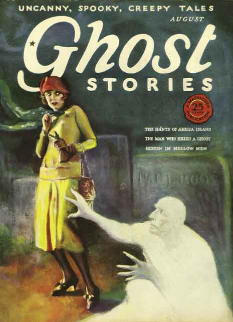 Cover from Ghost Stories pulp magazine showing a woman scared by a ghost rising from a grave