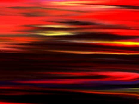 Abstract painting of sunset on a beach at low tide