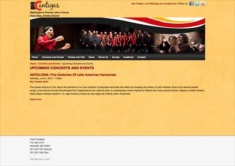 Screenshot of the Upcoming Concerts and Events page from the Cantigas site