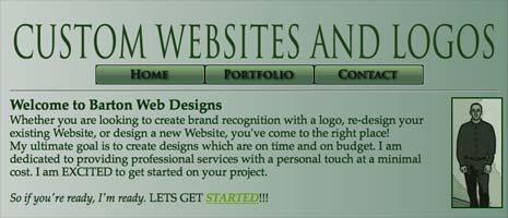 Barton Web Designs monochomratic green color scheme