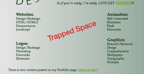 Trapped space in the center of the Barton Web Designs home page