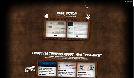 Screenshot from the home page of Bret Victor's website