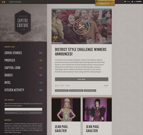Screenshot from the home page of Capitol Couture website