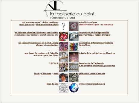 Screenshot of la tapisserie au point home page
