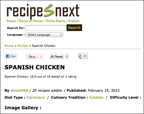 Screenshot from Recipes Next site showing a lack of space betweeb design elements