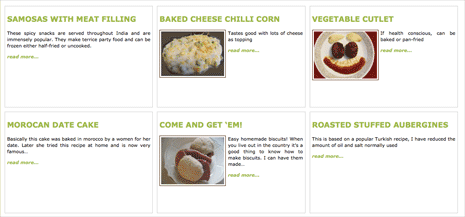 Screenshot from Recipes Next showing grid of recipes