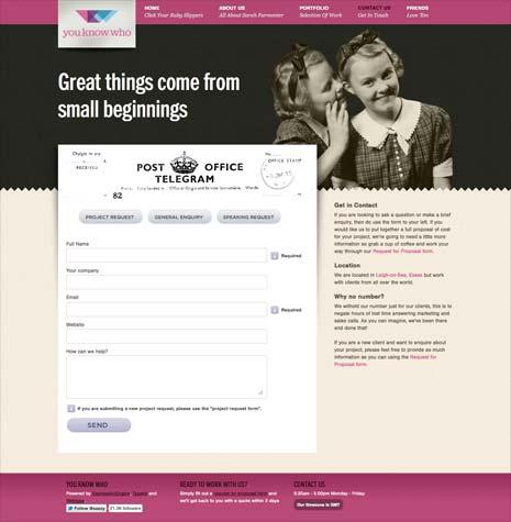 Screenshot of Sarah Parmenter's contact page