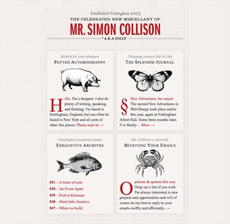 Screenshot of Simon Collison's home page around 800px wide