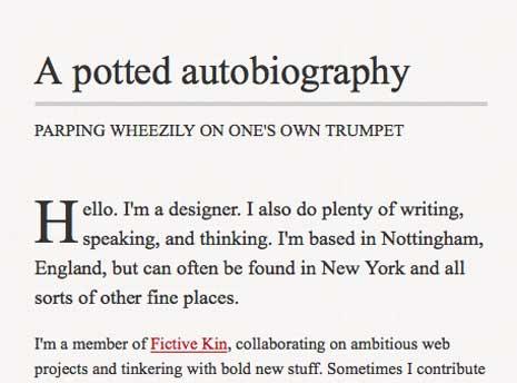 Screenshot of Simon Collison's bio page around 480px wide