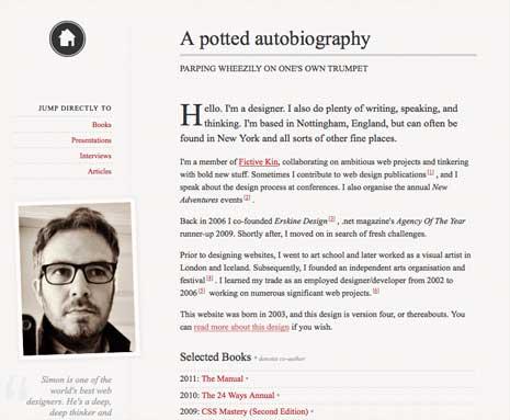Screenshot of Simon Collison's bio page