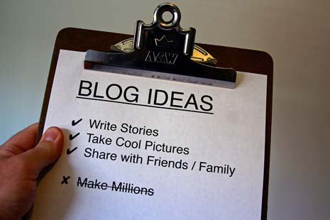 Clipboard showing a list of ideas for starting a blog