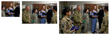 Image of President Obama greeting troops cropped for 3 sizes
