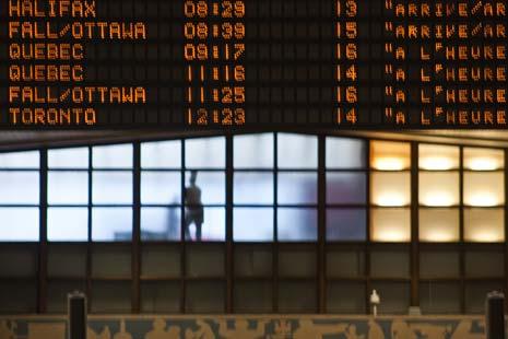 Train schedule, Quartier International de Montréal, Montreal, QC, CA.