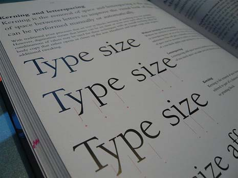 The words 'Type Size' printed in a book to demonstrate kerning and letterspacing