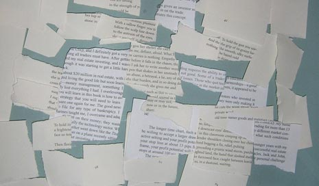 Collage of text on torn paper