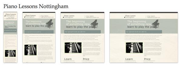 Screenshots of Piano Lessons Notingham website at various breakpoints