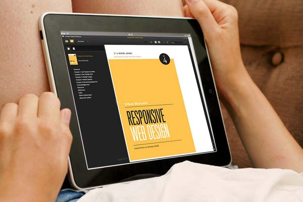 Reading the book Responsive Web Design on a tablet
