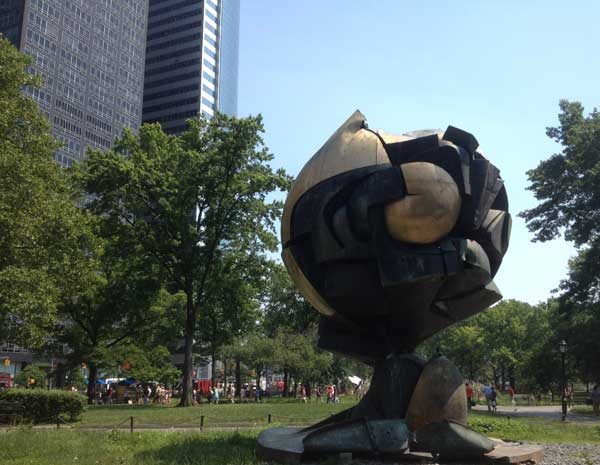 Crushed globe from World Trade Center moved to Battery Park