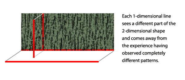 Two 1-dimensional lines observing a pattern on a 2-dimensional plane