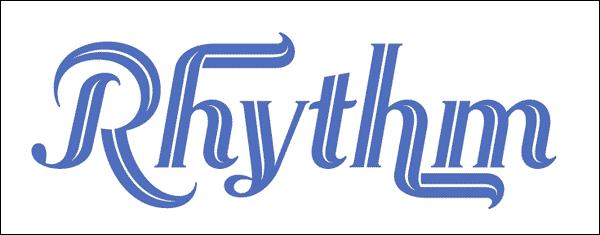 Rhythm written using rhythm font