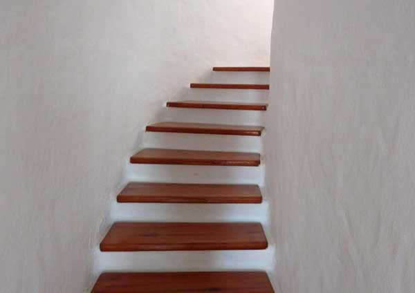 Staircase with wood steps