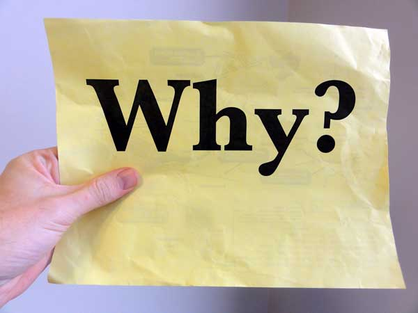 hand holding a piece of paper with the question why?
