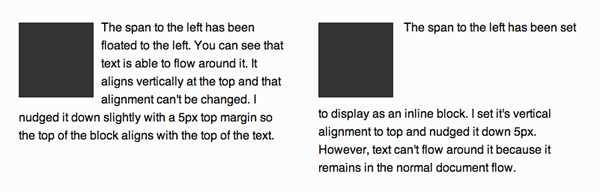 How text flows around a floated block and an inline-block