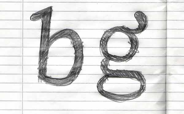 The letters b and g drawn by hand