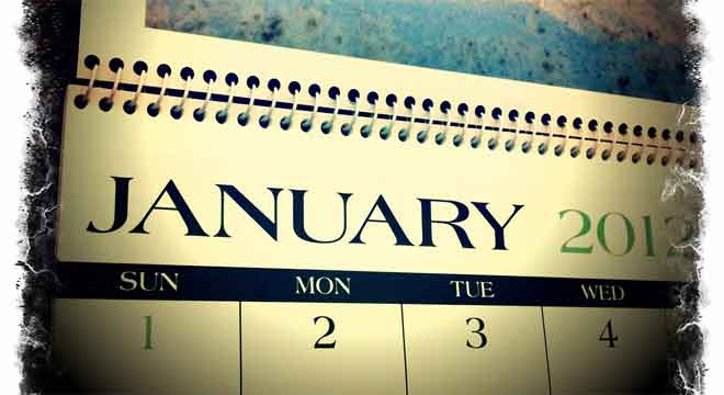 Calendar open to January, 2012