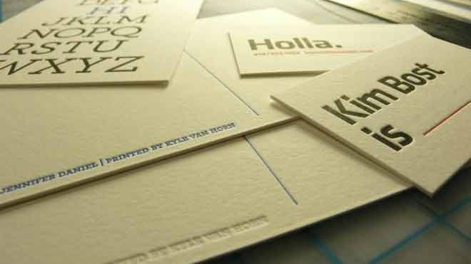 Letterpress on business cards and postcards