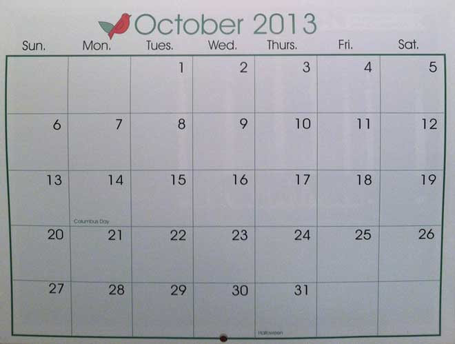 Calendar open to October, 2013
