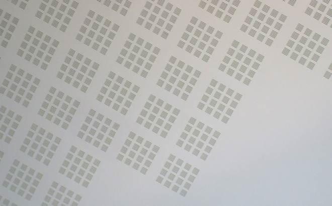 Grid-like ceiling tile pattern