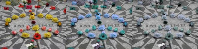 Image of Strawberry Fields Memorial in Central Park with and without css filters applied