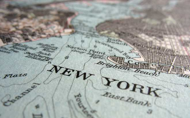 Map showing detail of  New York