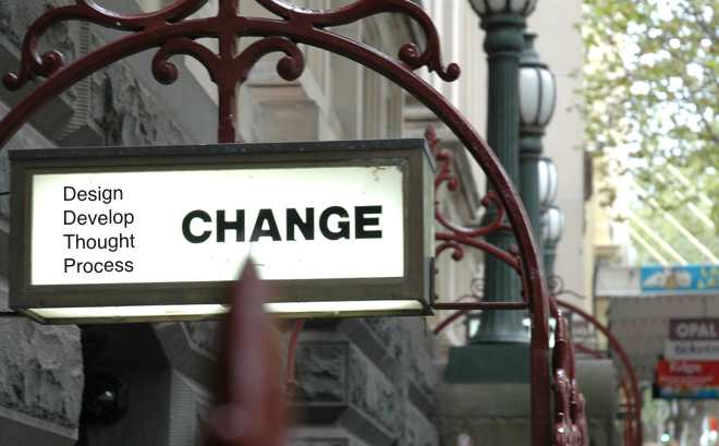 Sign showing the word change