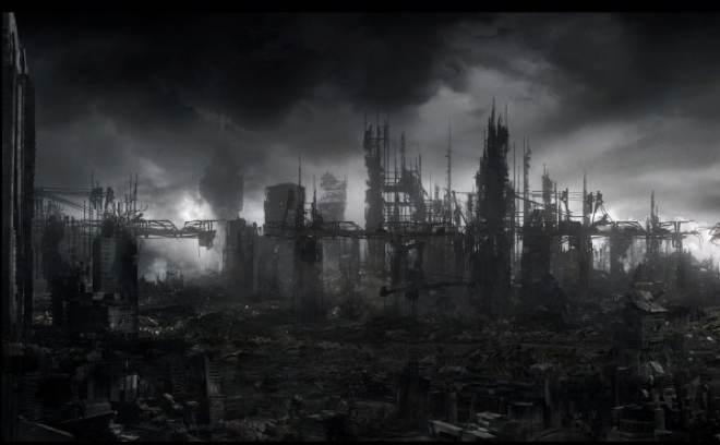 A futuristic city in ruin